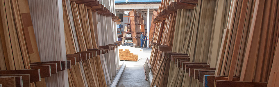 Large inventory of wood molding